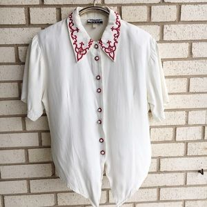 Vintage Marnie West Pointed Collar Embroidered Top